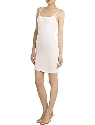 iB-iP Women's Cotton Blend Spaghetti Straps Full Slips Mid-Thigh Bodycon Dress