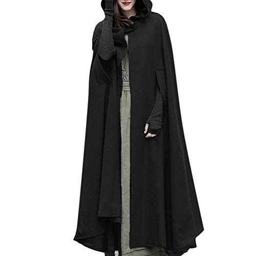 VESNIBA Women Trench Coat Open Front Cardigan Jacket Coat Cape Cloak Poncho Plus Black
