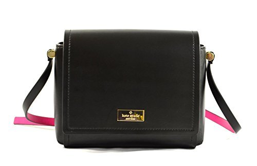 Kate Spade Avva  Arbour Hill Smooth Leather Crossbody Bag (Black/Sweetheart Pink)