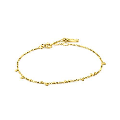 925 Sterling Silver Dainty Boho Minimalist Circle Charm Bangle Bracelet for Women, 14K Gold Plated