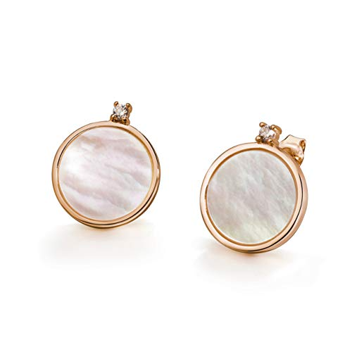 - Fonsalette Minimalism Round Mother of Pearl Stud Sterling Silver Circle Disc Earrings Shell Earring. (Rose Gold)
