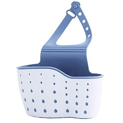 Double Adjustable Deck Hook - Sponge holder for Kitchen Sink, bathroom, toilet, Hanging Sink Caddy Organizer with Adjustable Strap, hanging vertical snap double-deck storage bag, convenient drain storage rack (Beige)