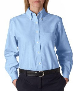Cotton Long Sleeve Oxford Shirt (Ultraclub 8990 UC Ladies Oxford Shirt - Light Blue - 2XL)