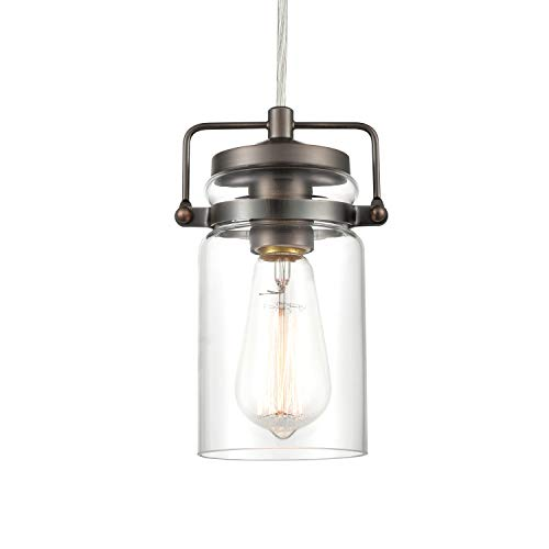 (Light Society LS-C236-BZ Topeka Mini Mason Jar Pendant, Glass Shade Bronze Finish, Vintage Industrial Modern Lighting Fixture)