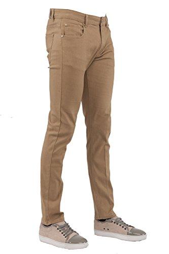 Khaki Color Jeans - Perruzo Men's Skinny Fit Color Jeans (32x30, Khaki)