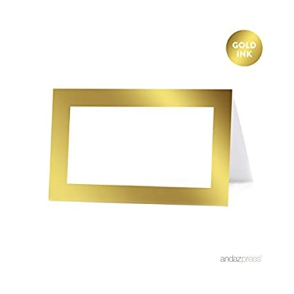 andaz press table tent printable place cards on perforated paper metallic gold ink blank - Printable Place Cards