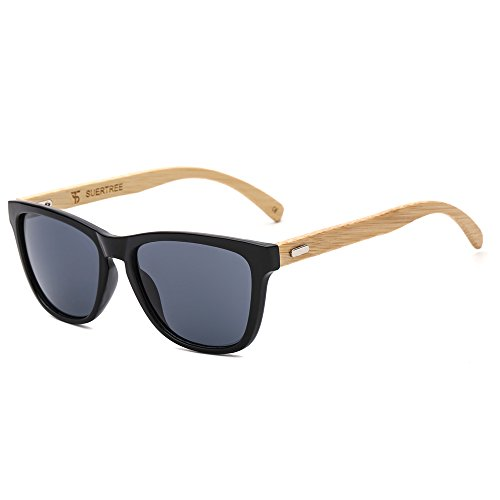 SUERTREE Bamboo Sunglasses for Women Men Vintage Wood Sun Glasses Retro in Wayfarer Classic Handmade Wooden Shades Fashion Woodies Eyewear Horn Rimmed UV400 Protection Black Frame Gray - Glasses Sun Bamboo