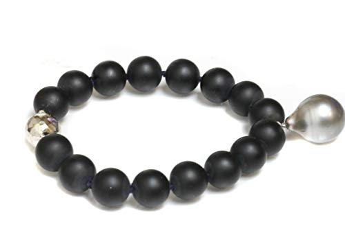 Tahitian South Sea Pearl Bracelet with Round Black Agate - (6, 14MM AA)
