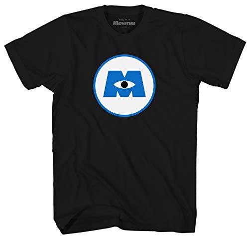 (Disney Monsters Inc University Logo Men's Adult Graphic Tee T-Shirt (Black,)