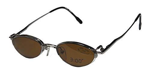3:00 2049 Mens/Womens Designer Half-rim Sunglass Lens Clip-Ons Flexible Hinges Eyeglasses/Eyeglass Frame (46-19-140, Gunmetal) (Hipster-frame-brille)