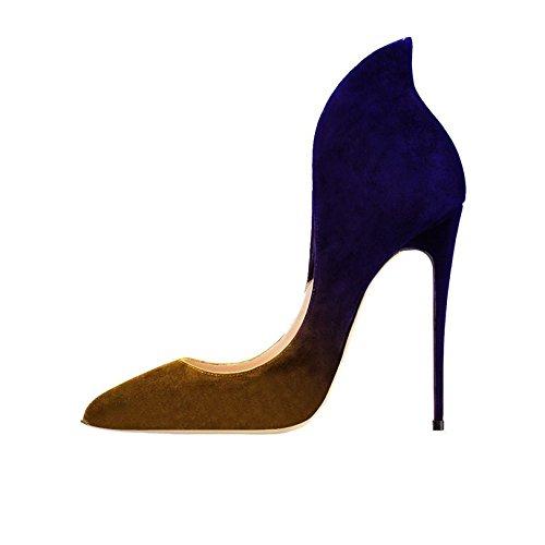 de pie Ciel en AzulAmarillo punta del los zapatos de del las bombas de ante en mujeres del las alto dedo tacón Arc UqfBvv