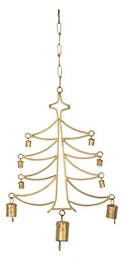 Saaga Antique Gold Cast Iron Christmas Tree Hanging with Bells / Handmade : 9x13.5 inches (LxB) Hanging Length :19 inches -