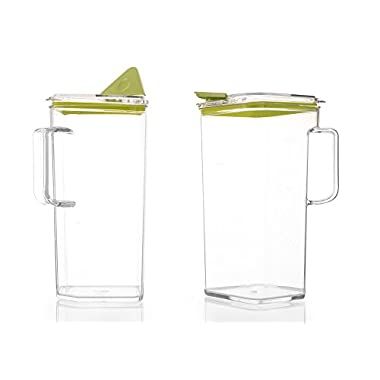 Komax Tritan Pitcher, 64 Ounce, Green Lid (Set of 2)