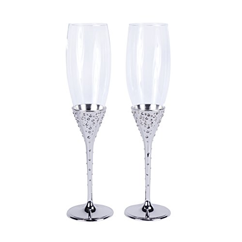Unik Occasions Wedding Champagne Flutes (Silver)