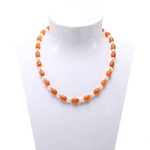 JYX Classic Orange Agate and White Freshwater Pearl Necklace 19