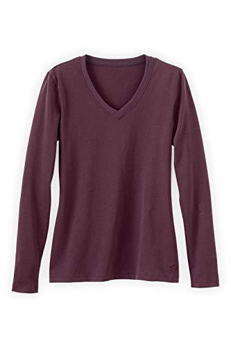 - Fair Indigo Fair Trade Organic Essential Long Sleeve V-Neck Tee (M, Raisin)
