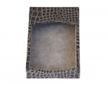 Dacasso Protacini Castlerock Gray Italian Patent Leather 4 x 6 Memo Holder