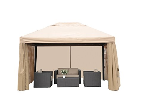 Patio Garden Cassini Gazebo 13'x10' with Side Walls Sturdy Aluminum Frame | for Garden Outdoor Event Party Easy Up Canopy Wedding Waterproof by SORARA