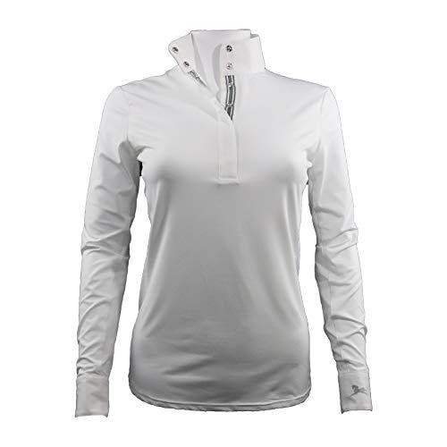 RJ Classics Perri Long Sleeve White Show Shirt (White/Burgundy, X-Large)