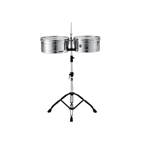 Meinl Percussion HT1314CH Headliner Series Steel Timbales With Chrome Finish and Stand