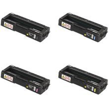 Refurbished / Compatible Ricoh SPC 220 / 221 / 240 Laser Toner Cartridge Set Black Cyan Magenta Yellow (220 Laser)