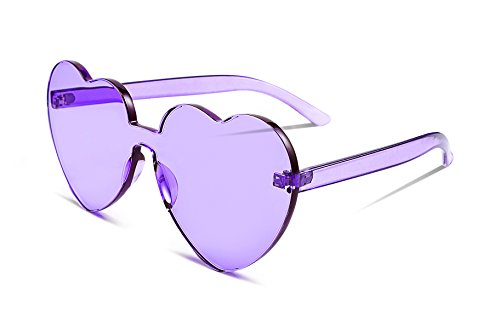 FEISEDY Heart Shaped Love Sunglasses Rimless One Piece Stylish Transparent Lens B2419 -