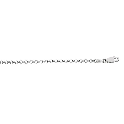 925 Sterling Silver Rhodium Plated 2.4mm Rolo Chain Necklace, Lobster Claw Clasp - 16 Inches, 4.3gr. -  JewelStop