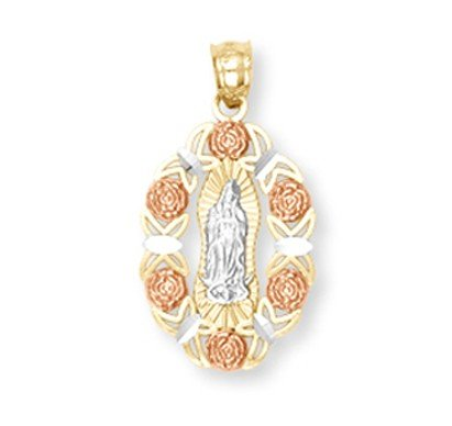 Claddagh Gold 14k Tri-color Gold Our Lady of Guadalupe Mi...