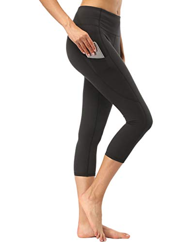 Deevike High Waist Yoga Pants with Pocket Ultra Soft Cropped Capri Leggings Tummy Control Workout Sports Pants Capris Black ()