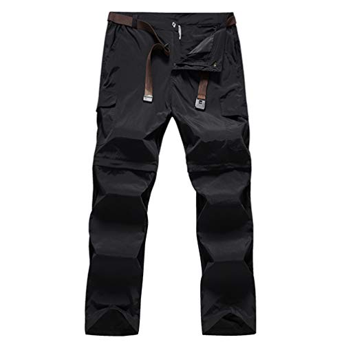 (SHMOjiany Outdoor Men Tactical Lightweight Zip Off Quick Drying Stretch Convertible Pants Bottom for Hiking Camping Black XXXL)