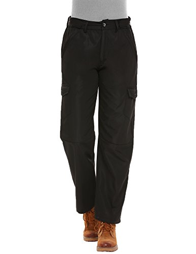 Women's Waterproof Fleece Lined Insulated Pants Windproof Cargo Pants With pockets