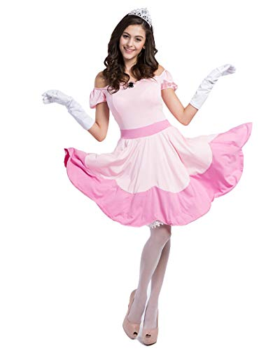 mewow Halloween Costume Women's French Maid Uniform Pink Princess Stretchy Dress with -
