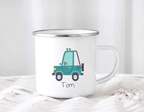Emailletasse mit Namen Jeep Kindertasse Emaillebecher