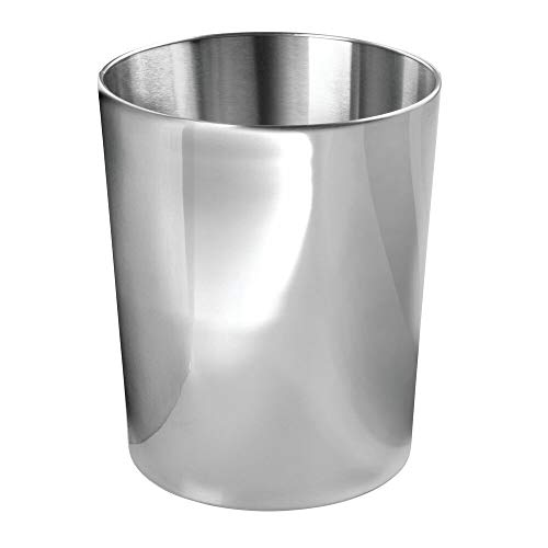 mDesign Round Metal Small Trash Can Wastebasket, Garbage Container Bin for Bathrooms, -