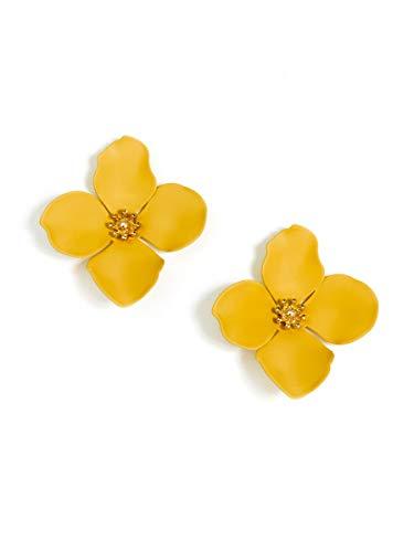 ZENZII Flower Petal Statement Stud Earrings for Women (Honey)
