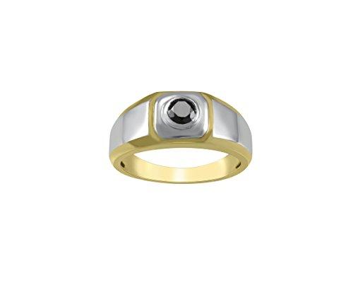 Store Indya, Bague a deux tons en argent sterling pour homme avec diamant rond noir 1 / 2CT or jaune et plaque rhodium (61.5)
