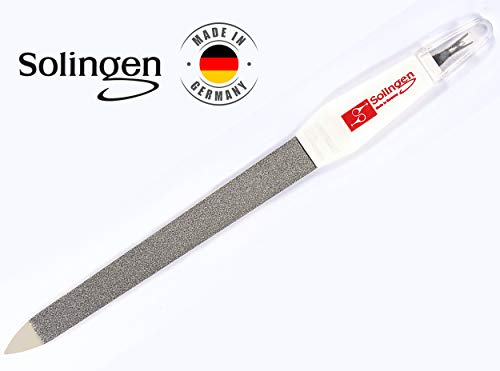 Solingen Professional Nail File - Cuticle Trimmer/Remover | Manicure & Pedicure Tool | 2 in 1 Tool for Your Hand & Foot Fingenails Care | 2 Sided Sapphire Files & Sharp Dead Skin Cutter
