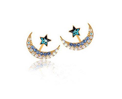 - Women's Moon Star Shaped Crystal Rhinestone Earrings Charming Party Stud Ear