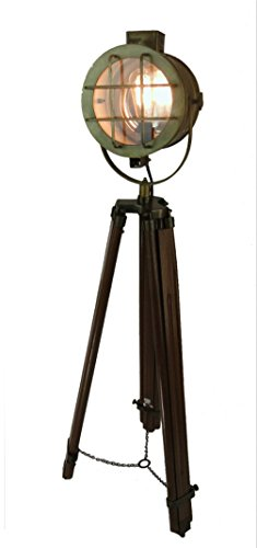 Movie Studio Tall Light Post Tripod Brass fnsh Spot Floor Lamp vintage old style by The King's Bay