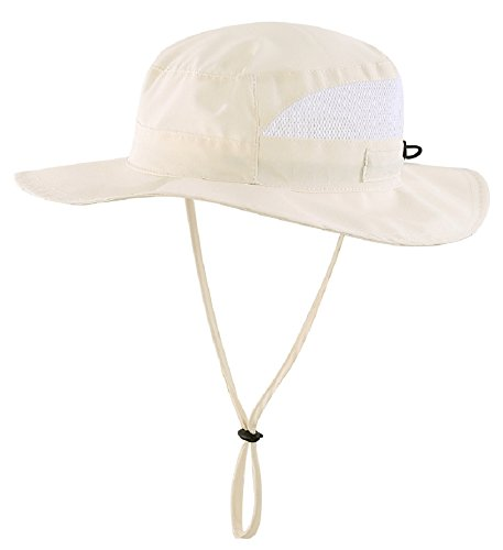 Connectyle Toddler Kids UPF 50+ Mesh Safari Sun Hat UV Sun Protection Hat Summer Daily Bucket Hat (Beige Bucket)