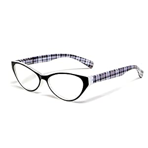 Calabria Emily Designer Reading Glasses in Crystal & Black Plaid ; +0.75
