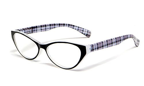Calabria Emily Designer Reading Glasses in Crystal & Black Plaid ; +2.50