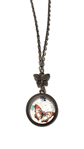 Orange Butterfly Pendant Necklace - Glass Cabochon - 18 inches