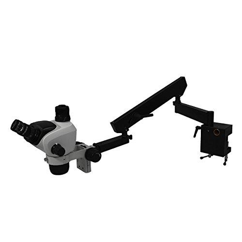 BoliOptics 6.6X-51X WF Trinocular Zoom Stereo Microscope + Articulating Flexible Arm Professional 10X Widefield Adjustable High Eyepoint Eyepiece 76mm Focus Rack (76 Mm Focus Rack)