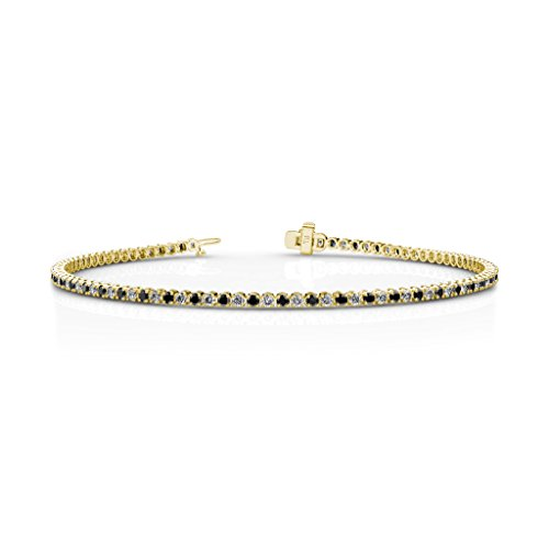 Black and White Diamond 1.7mm (SI2-I1-Clarity, G-H-Color) Tennis Bracelet 1.35 cttw in 14K Yellow Gold