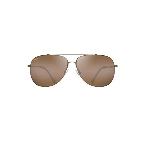 Maui Jim Cinder Cone H789-16M | Polarized Matte Gold Aviator Frame Sunglasses, HCL Bronze Lenses, with with Patented PolarizedPlus2 Lens Technology