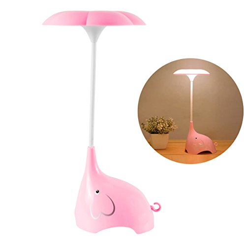 Night Lights for Kids, SmartDer LED Desk Lamp Dimmable Bedside Lamp with USB Charging Port, Cute Elephant Shape, Touch Sensitive Control, 3 Brightness Levels (Pink) (Kids Lamp Bedside Table)