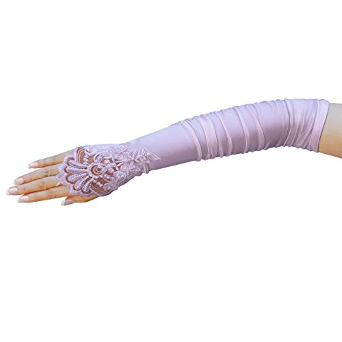 ZaZa Bridal Gathered Satin Fingerless Gloves w/ Floral Embroidery Lace & -