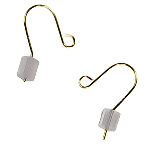 - Tiny Earwire 14k Solid Yellow Gold Fishhook Loop Earring Parts w/Stoppers .016