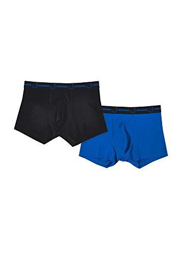 Jockey Men's Underwear J Cotton Stretch Boxer Brief - 2 Pack, Black/Blue, M